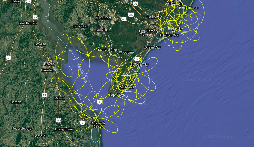 A map showing the array of Motus towers used to track nanotagged birds on Delaware Bay.
